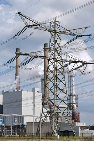 CO2 emissions: coal-fired power plant Stock Photo