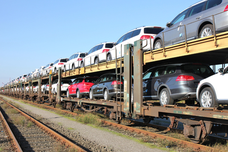 autorack with cars