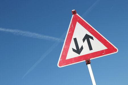 traffic rules: two way traffic German road sign