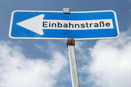 German road sign - one-way street