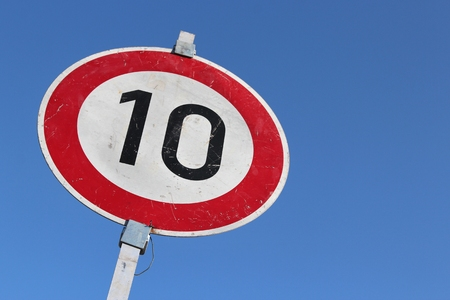 kmh: German road sign - 10 kmh speed limit