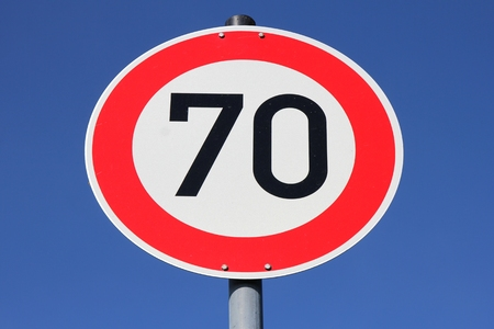 kmh: German road sign - speed limit 70 kmh