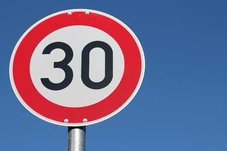 German road sign - speed limit 30 kmh Stock Photo