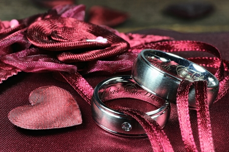 red ringbearer pillow with wedding rings 写真素材