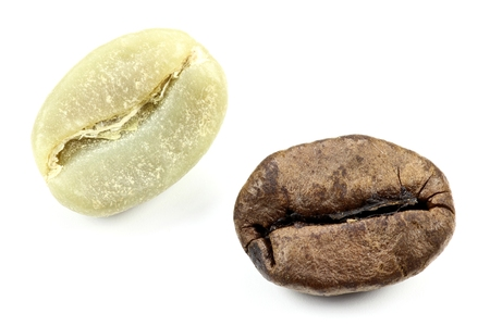 fairtrade: coffee beans isolated on white background