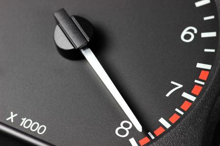 rev: tachometer in red zone Stock Photo