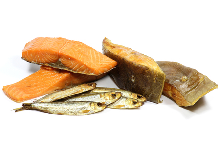 varieties: assortment of smoked fish varieties