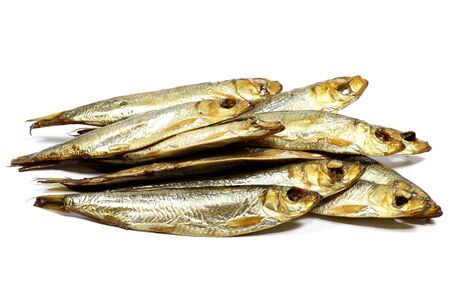 sprats: smoked sprats isolated on white background