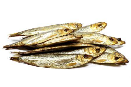 sprats: smoked sprats isolated on white background