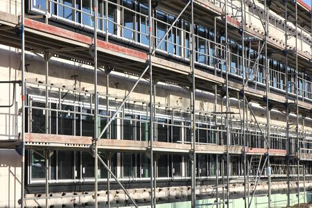 building sector: Scaffolding at building currently under construction