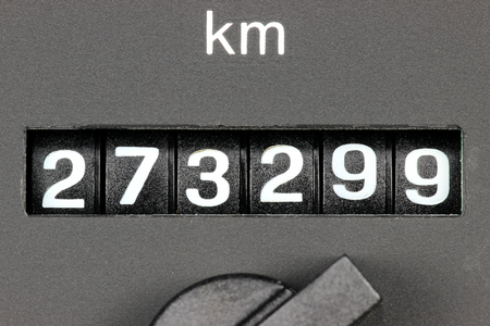 analogous: odometer of used car showing mileage of 273 299