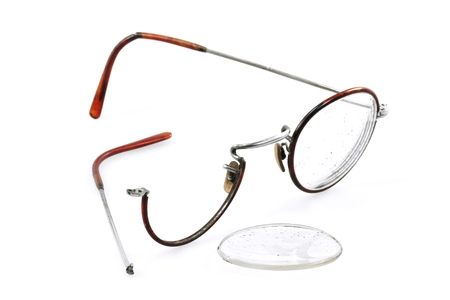 diopter: old glasses on white background