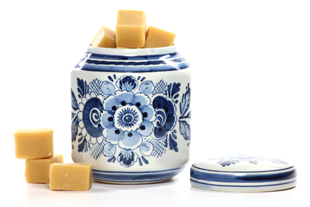 delftware: fudge in delftware container