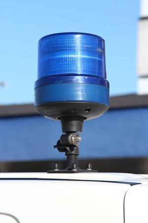 strobe lights: blue emergency vehicle lighting Stock Photo