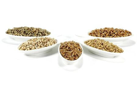 assortment of different cereals on white background Stock Photo