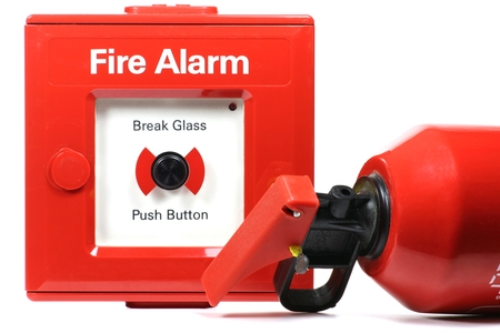pushbutton: push-button fire alarm isolated on white background