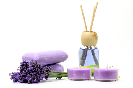 lavandula angustifolia: assortment of different lavender products on white background Stock Photo