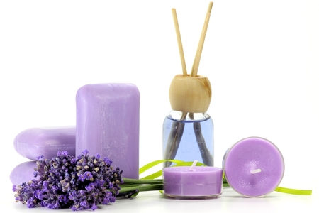 common room: assortment of different lavender products on white background Stock Photo