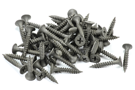 drywall: phosphated drywall screws isolated on white background