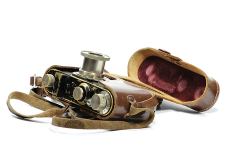 rangefinder: vintage camera isolated on white background