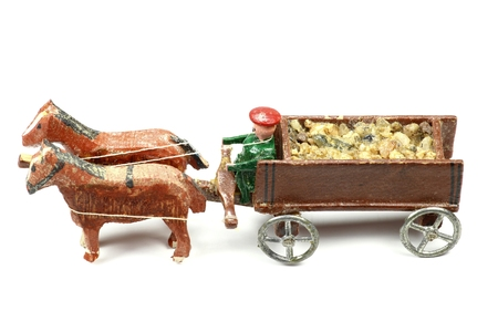 coachman: horse-drawn coach from the Ore Mountains  Germany Stock Photo