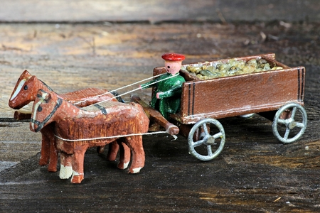 the coachman: horse-drawn coach from the Ore Mountains  Germany Stock Photo