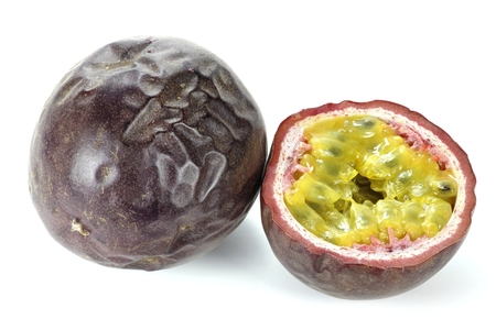 mellowness: passionfruit isolated on white background Stock Photo