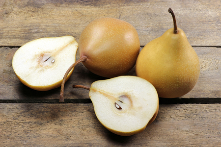 mellowness: pears variety Beeregrie on wooden background