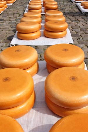 merchant: traditional merchant cheese market in Gouda  Netherlands Stock Photo