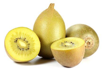 mellowness: golden kiwifruit isolated on white background