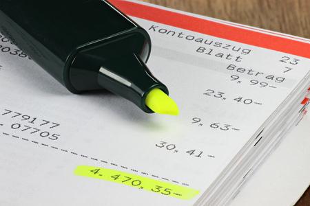 creditors: accounts current showing big minus Stock Photo