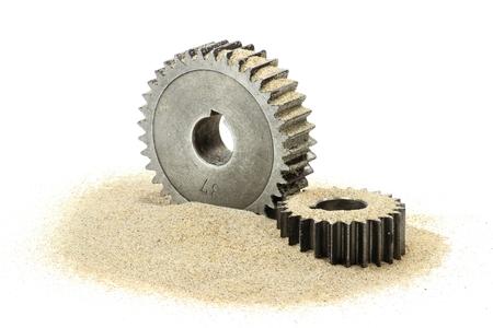 disturbance: sand in the gears Stock Photo