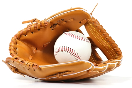 baseball catcher: baseball equipment isolated on white background