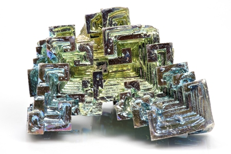 bismuth: bismuth crystal isolated on white background