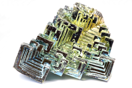 oxides: bismuth crystal isolated on white background