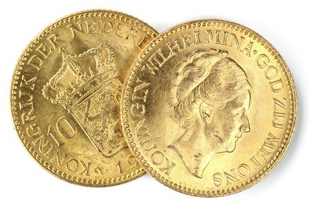 wilhelmina: Dutch Wilhelmina gold coins isolated on white background Stock Photo