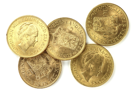 wilhelmina: Dutch Wilhelmina gold coins isolated on white background Stock Photo