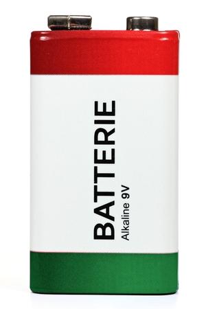 hazardous waste: 9V block battery isolated on white background