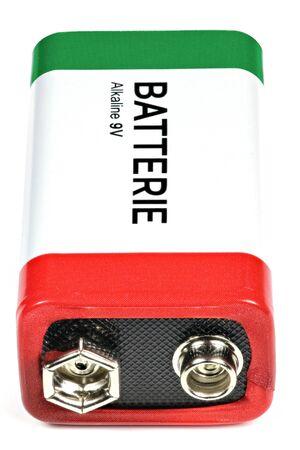 9v battery: 9V block battery isolated on white background