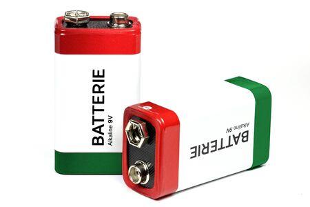 9v battery: 9 Volt block batteries isolated on white background