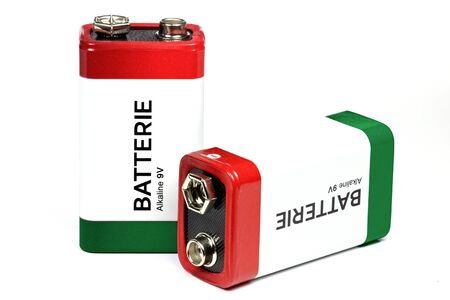 volt: 9 Volt block batteries isolated on white background