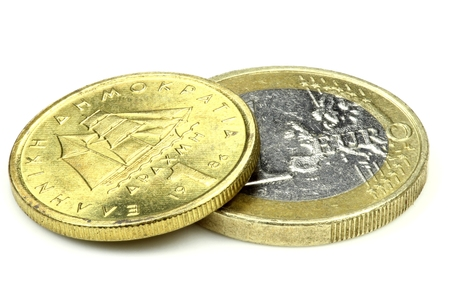 1: 1 Euro and 1 Drachma isolated on white background