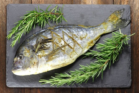gilled: gilthead seabream ready to cook