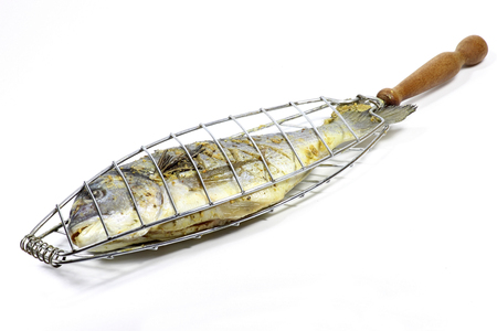 gilthead: gilthead seabream in fish basket isolated on white background