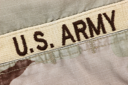 desert storm: US Army patch on desert uniform Stock Photo