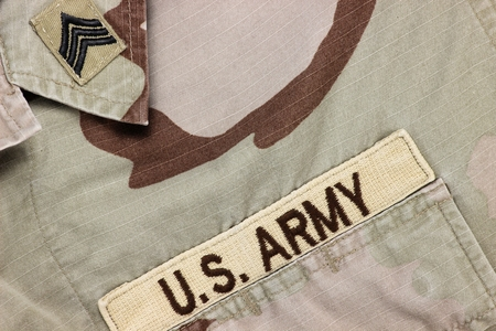 us army: US Army patch on desert uniform Stock Photo