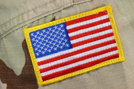 patched: US flag patched on army uniform
