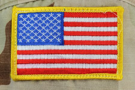 desert storm: US flag patched on army uniform