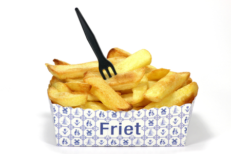 Dutch fries in cardboard container isolated on white background Stock Photo