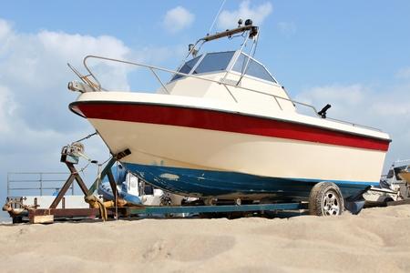 motorboat: motorboat on trailer